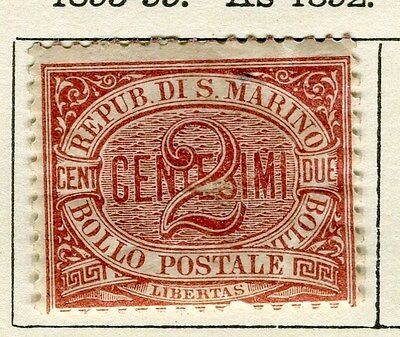 SAN MARINO;  1895 early classic issue Mint Hinged 2c. value