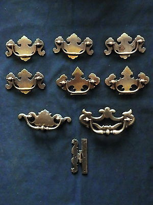 Lot of 9 Vintage Door Pulls Hindge
