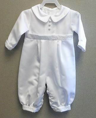 Peter Satin Christening Outfit, Baptism Outfit - Button Back & Leg - White