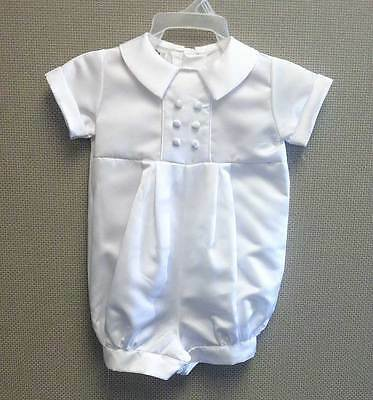 Pete Satin Christening Outfit, Baptism Outfit - Button Back & Leg - White