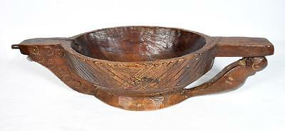 Antique Indian Wooden Pouring Bowl, 19th Century