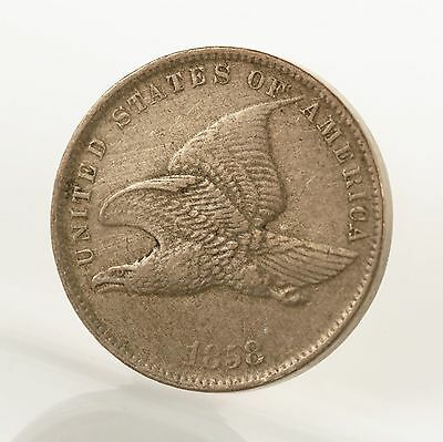 Raw 1858 Flying Eagle 1C Uncertified Small Letters US Copper Penny Cent Coin