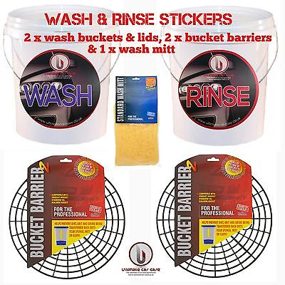 2X 20L Wash Buckets, Barrier,grit Guard,scratch Shield,bucket Stickers Wash Mitt