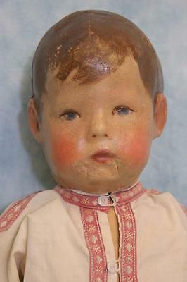 "Early 17"" Cloth Kathe Kruse Doll I Signed on Foot Beautiful Boy Doll c.1915"