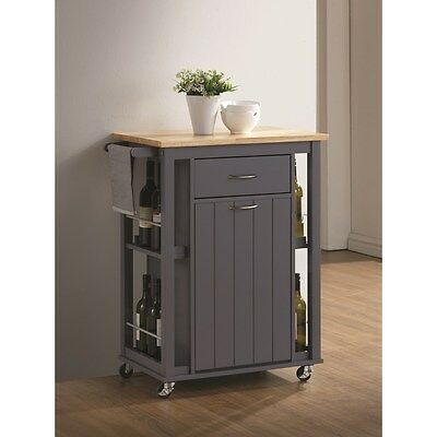 Natural and Dark Grey Kitchen Island Wine Cart by Coaster 102665