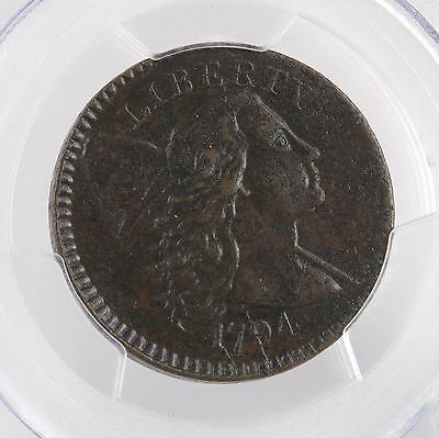 1794 Head Of 94 Flowing Hair 1C S-65 PCGS Certified AU Details Copper Large Cent