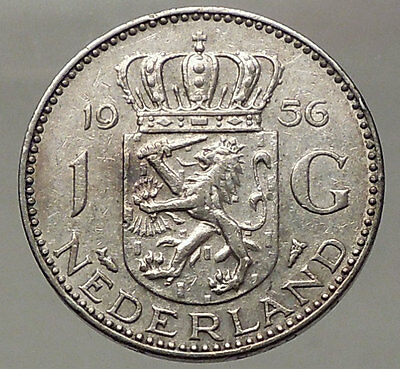 1956 Netherlands Kingdom Queen JULIANA 1 Gulden Authentic Silver Coin i57764