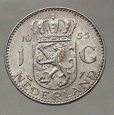 1955 Netherlands Kingdom Queen JULIANA 1 Gulden Authentic Silver Coin i57763
