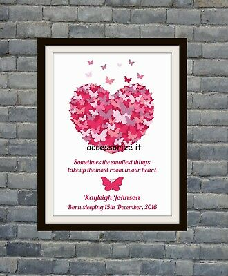 Personalised A4 or 5x7 Baby Girl Grave Memorial Print - Loss of child / infant