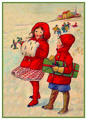 Christmas Scene # 810 Boy Girl Presents Snow Counted Cross Stitch Pattern