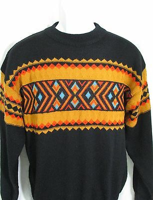 Vintage Ski Sweater Wool Size Small 1980's Southwestern JD Sunvalley Pure Wool
