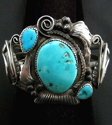 Vintage Old Pawn Silver and Turquoise Bracelet STERLING Native American *TB277