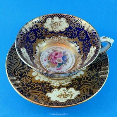 Rich Gold & Cobalt Crown Staffordshire Teacup and Saucer Set