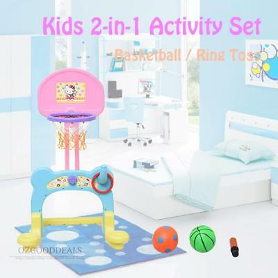 Toddler Kids 2 in 1 Play Activity Basketball Ring Toss Game Toy Blue Pink Yellow