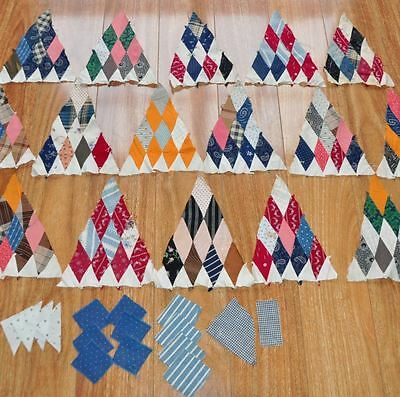 "(16) x 1880-1910 GORGEOUS SUGAR LOAF ANTIQUE VINTAGE QUILT BLOCKS – 8"" x 10"""