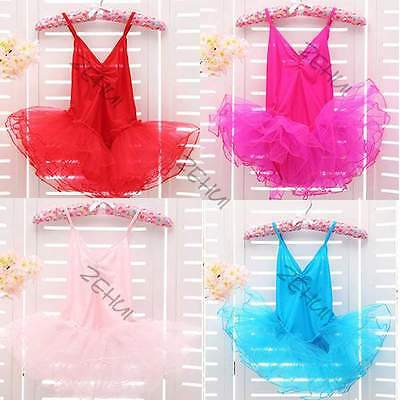 Girls Child Leotard Ballet Dance Dress Tutu Skirt Dancewear Costume Age 3-12 Y