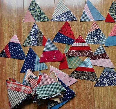 (100) x SWEETEST CRAZY TRIANGLE ANTIQUE VINTAGE QUILT BLOCKS - DATED 1917!