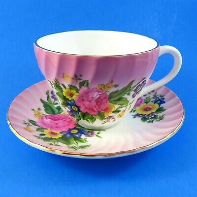 Colorful Floral Bouquet on Pink Swirl Crown Staffordshire Teacup and Saucer Set