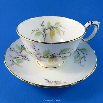 Tree Branch Design Crown Staffordshire Teacup and Saucer Set