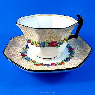 Rare Octagonal with Black Handle Crown Staffordshire Teacup and Saucer Set