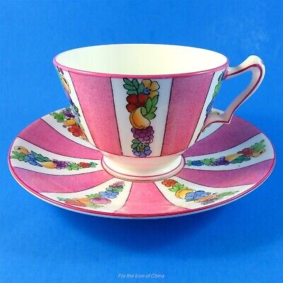 Pretty Pink Pannel & Fruit Floral Crown Staffordshire Teacup and Saucer Set