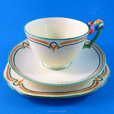 Old Flower Handle Handpinted Crown Staffordshire Tea Cup, Saucer & Plate Trio