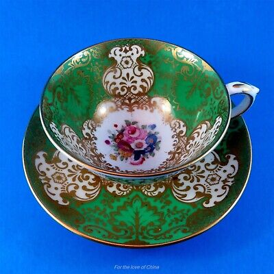 Painted Floral Bouquet Center & Green Crown Staffordshire Tea Cup & Saucer Set
