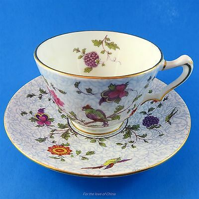 Crown Staffordshire Bird Design Teacup and Saucer Set