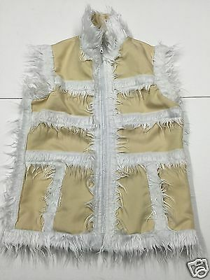 """Girls Size 30""""/32"""" Chest Cream / White Faux Fur Lined Zip Up Gilet 1Z"""