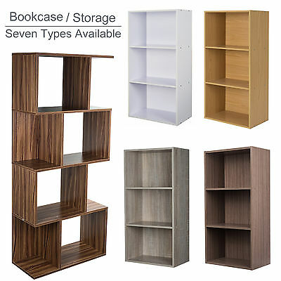 Display Shelves Storage Bookshelf 3 / 4 Level Tier Bookcase Stand Rack Unit Cube