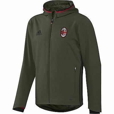 adidas Mens Gents Football AC Milan Training Presentation Jacket - Dark Green