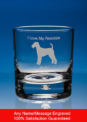 Airedale Terrier Dog Gift Personalised Engraved Whisky Glass Tumbler