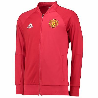adidas Mens Gents Football Soccer Manchester United Anthem Jacket Top - Red