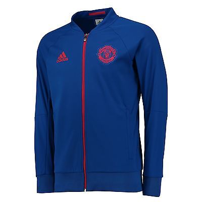 adidas Mens Gents Football Soccer Manchester United Anthem Jacket - Royal Blue