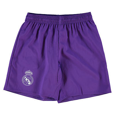 adidas Childrens Kids Football Soccer Real Madrid Away Shorts 2016-17 - Purple