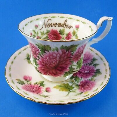 Royal Albert Flower of the Month November Chrysanthemum Teacup and Saucer Set
