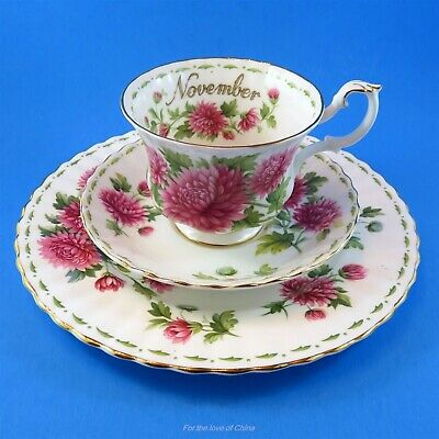 Royal Albert Flower of the Month November Chrysanthemum Cup, Saucer & Plate Trio