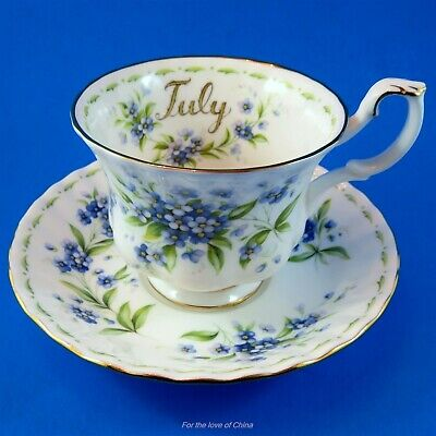 Royal Albert Flower of the Month July Forget Me Nots Teacup and Saucer Set