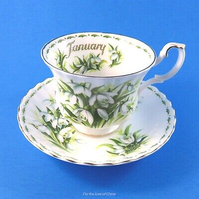 Royal Albert Flower of the Month January Snowdrops Teacup and Saucer Set