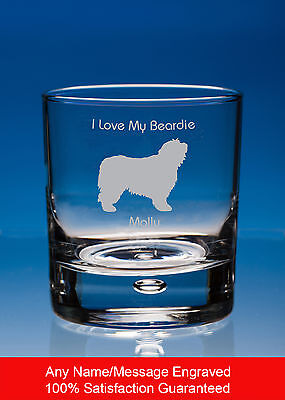 Bearded Collie Dog Gift Personalised Engraved Whisky Glass Tumbler