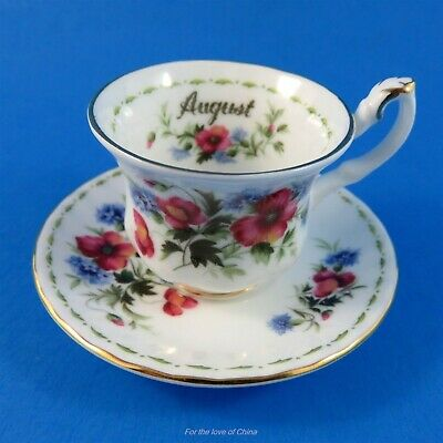 Royal Albert Flower of the Month August Poppy Teacup and Saucer Miniature