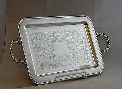 "VINTAGE ENGLISH SILVER MFG. by LEONARD USA 17.75"" ETCHED FOOTED SILVERPLATE TRAY"