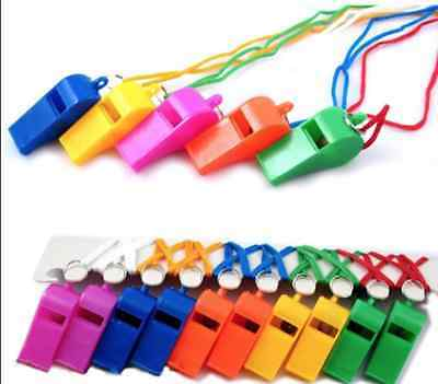 Sports Plastic Whistle With Neck Cord