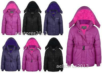 Girls Parka Coats Padded Fleece Jackets Faux Fur Hooded Winter School Anoraks