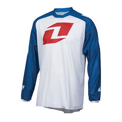 One Industries Atom Vented Icon White / Blue Motocross Mx Mtb Bike Cycle Jersey