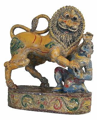 Antique Rajasthani Lion & Hunter - Hand Carved & Painted - India - 17th Century