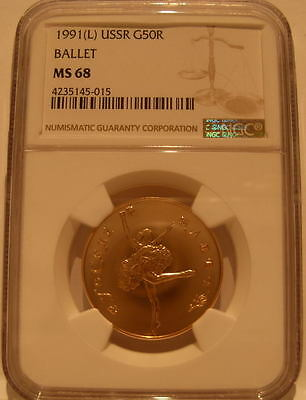 Russia USSR 1991L Gold 50 Roubles NGC MS-68 Ballet