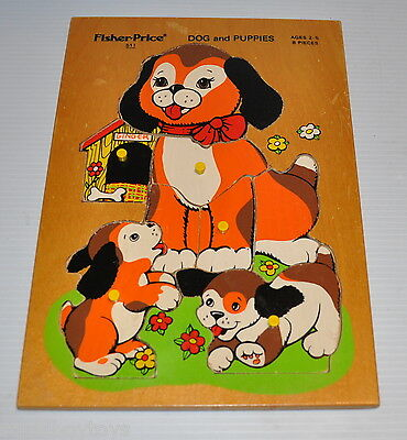 Fisher Price DOG and PUPPIES Wooden PUZZLE #551 Quaker Oats 1979