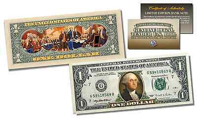 2-Sided Colorized Genuine Legal Tender US $1 Bill - Declaration of Independence