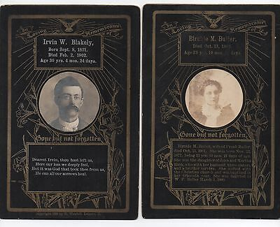 Pair of 1898 Mourning Cabinet Photos of Man & Woman from Leipsic Putnam Co Ohio